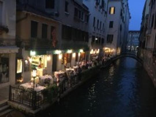 The Ristorante da Raffaele on the canal in Venice has a casual atmosphere and attentive staff.