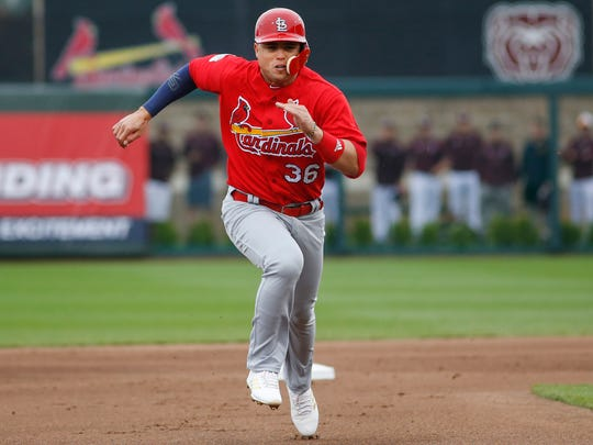 Aledmys Diaz runs to third during the game between the St. Louis Cardinals and the Springfield Cardinals at Hammons Field on Friday, March 31, 2017. He is now a member of the Houston Astros.