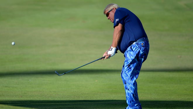 John Daly suffered a knee injury at a tournament in California on Saturday.