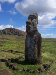 A stern carved face looks inland protecting the islanders