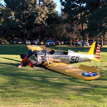 The crashed plane on Penmar Golf Course in Santa Monica.