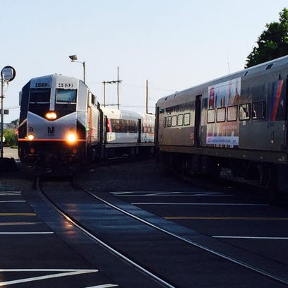 A NJ Transit train pulls in to the Bay Head station.