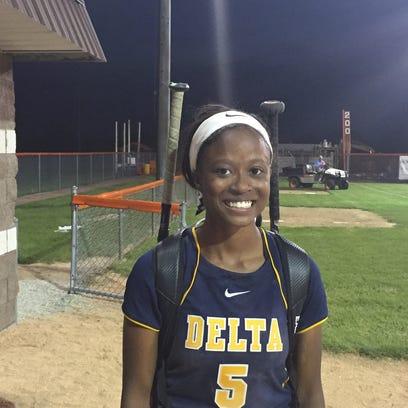Delta's Micaya Richardson.
