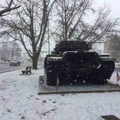 A tank at Fisher Veterans' Memorial Park on Tuesday