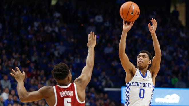 UK's Quade Green shoots a 3-pointer against Alabama on Feb. 17, 2018.