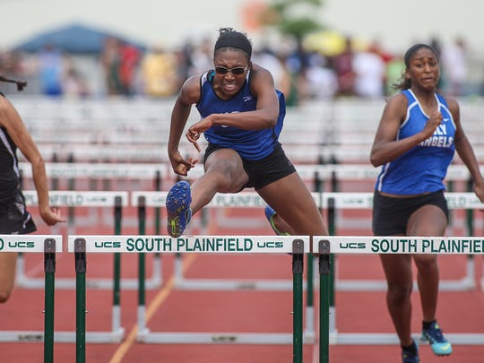 Union Catholic's Tia Livingston runs the Non-Public A Girls 100 Hurdles at the NJSIAA Groups II, III and Non-Public A Track and Field Championships at Frank Jost Field in South Plainfield on May 30, 2015. (Photo by Keith A. Muccilli/ Special to NJ Press Media)