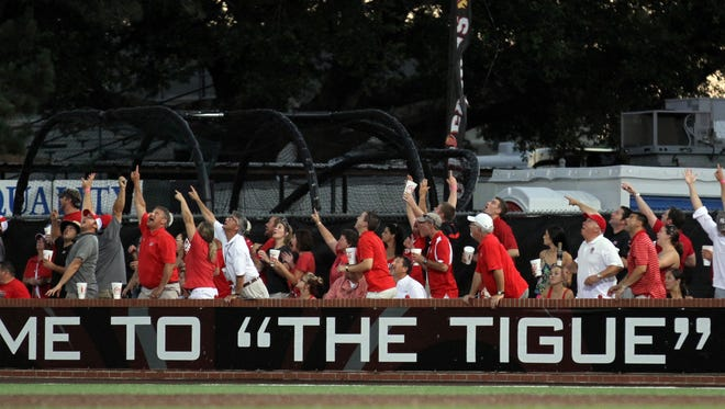 "UL plays Ole Miss Saturday, June 7, 2014, in the first game of the 2014 NCAA Division Super Regional baseball tournament at M.L. ""Tigue"" Moore Field in Lafayette, La."