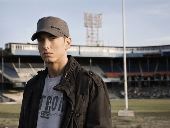 "Eminem at Tiger Stadium for the ""Beautiful"" video shoot"