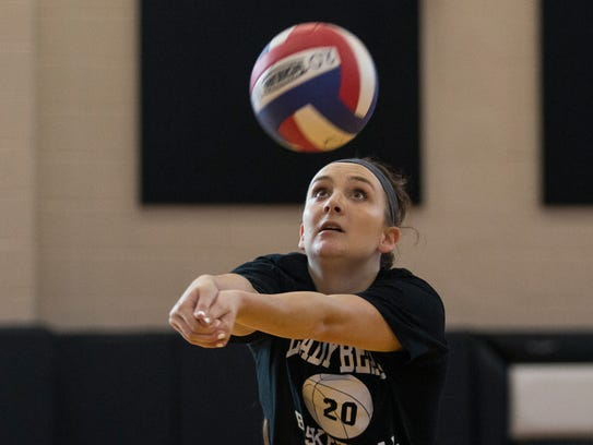 West Oso's Britney Goodwin bumps the ball during their practice on Thursday, Oct. 26, 2017.