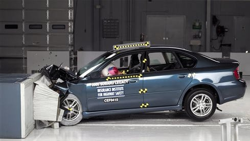 This undated photo provided by the Insurance Institute for Highway Safety shows the frontal offset crash test of the 2005 Subaru Legacy. Documents posted today by U.S. safety regulators say Subaru is expanding a previous recall of five models, including the 2005 Legacy, to fix potentially faulty passenger air bags in high-humidity states.