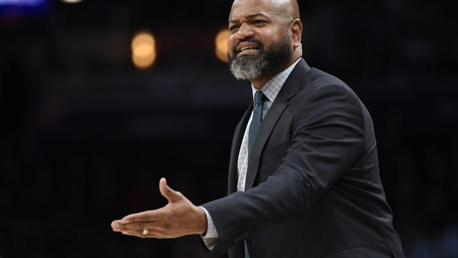 Cavaliers coach J.B. Bickerstaff gestures during the first half of a game in February.
