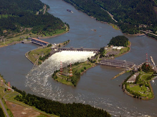 This photo shows the Bonneville Dam on the Columbia River near Cascade Locks, Ore.