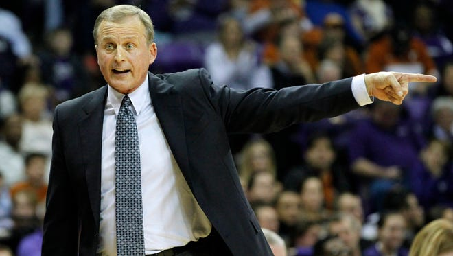 Texas Longhorns head coach Rick Barnes reacts to a call in the second half.