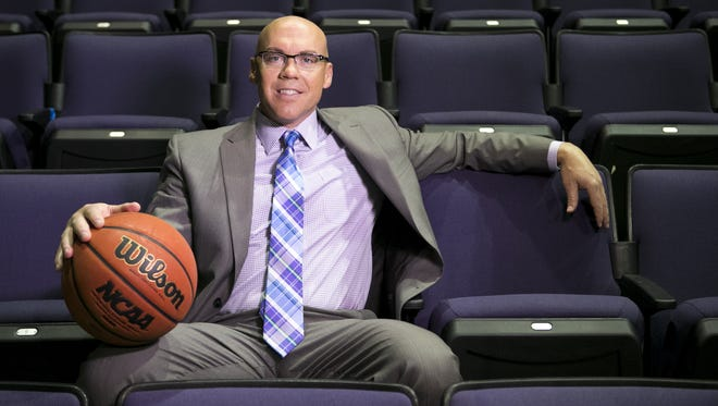 Grand Canyon University women's head basketball coach Trent May at GCU Arena at Grand Canyon University in Phoenix on Tuesday, September 22, 2015.