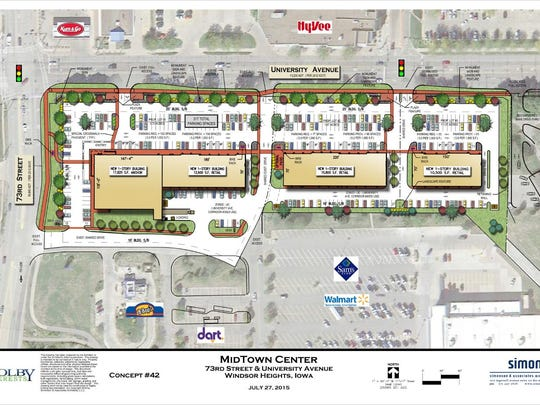 A site plan for Midtown Center was approved by City Council in August. Aldi would have been located on the west end, but a conditional use permit was denied by the Board of Adjustment.
