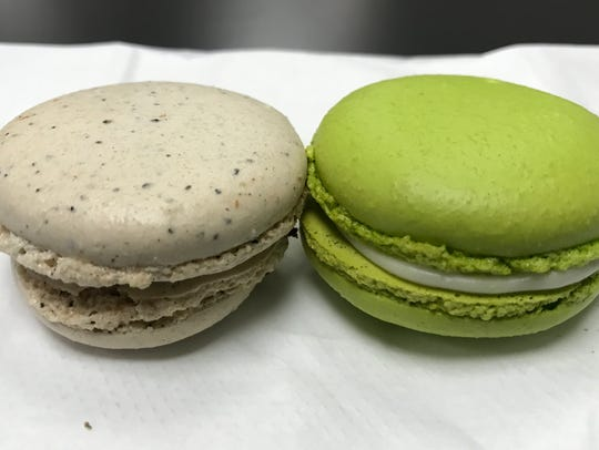 An espresso Nutella and a key lime macaron from the