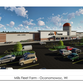 An architect's drawing shows what a proposed Mills Fleet Farm store would look like at the Pabst Farms Town Centre development in Oconomowoc.