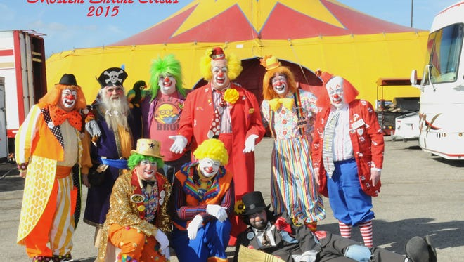 Sunshine, aka Ron Bucket, stands second from right with his fellow Shrine clowns, which will perform at the circus at the Michigan State Fair this weekend.