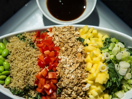Tropical Kale Chopped Salad with Quinoa, Mango, Edamame and LocoCocoNut Crunch, Citrus Reduction