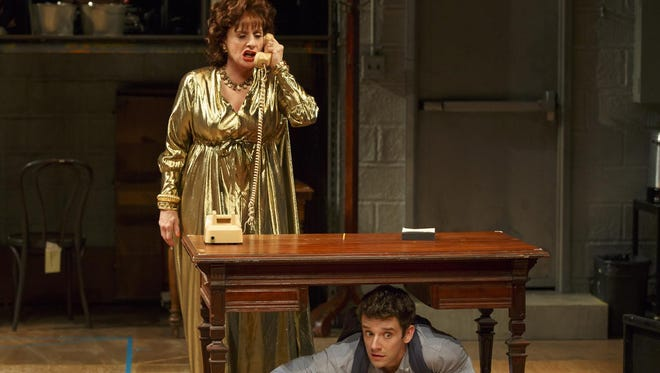 "Patti LuPone, shown with Michael Urie, in a scene from ""Shows For Days,"" which played this summer at Lincoln Center. LuPone grabbed a phone from a texting audience member in July."