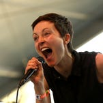 Singer Channy Leaneagh of Polica performs in 2013  in Indio, California.