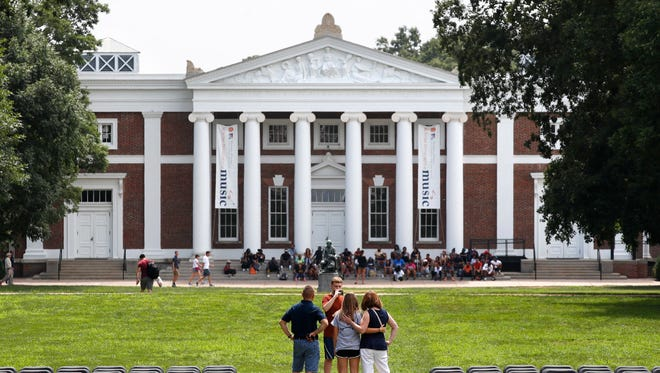 A view of the Lawn of the campus of University of Virginia in Charlottesville.