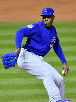 Aroldis Chapman struck out two in 1 1/3 innings to earn the save in Game 2.