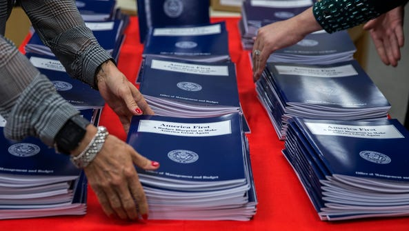 Copies of President Trump's budget are pictured at