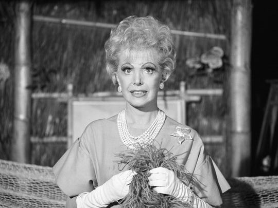 """LOS ANGELES - APRIL 15: Gilligan's Island cast member, Natalie Schafer as Mrs. Lovey Howell on set of episode: """"Hair Today, Gone Tomorrow.""""  Image dated May 15, 1966.  (Photo by CBS via Getty Images)"""