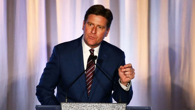 Phoenix Mayor Greg Stanton makes his sixth State of the City address on April 25, 2017, at the Sheraton Grand Phoenix in Phoenix.