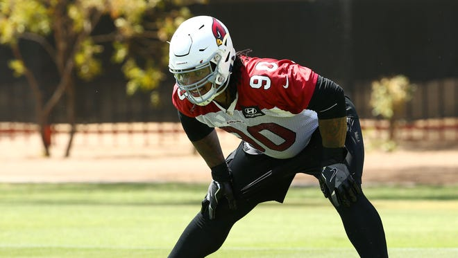 Arizona Cardinals Robert Nkemdiche (90) during voluntary Organized Team Activities on June 5, 2018 at the Arizona Cardinals Training Facility in Tempe, Ariz.