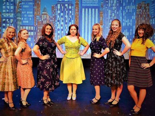 """Starring in the Endicott Performing Arts Center production of """"Guys and Dolls"""" are, from left, Stefanie Jump, Jessica Hyland, Emily Foti, Jana Kucera, Ashley Sinicki, Katie Phykitt and Alexia Lamb."""