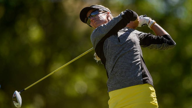 Jul 10, 2016; San Martin, CA, USA; Kris Tamulis tees off the second hole during the final round of the women's 2016 U.S. Open golf tournament at CordeValle Golf Club. Mandatory Credit: Kelvin Kuo-USA TODAY Sports
