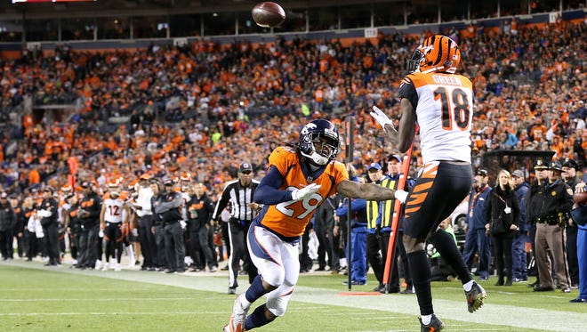 Cincinnati Bengals wide receiver A.J. Green (18) catches a touchdown pass in the fourth quarter during the Week 11 NFL game between the Cincinnati Bengals and the Denver Broncos, Sunday, Nov. 19, 2017, at Sports Authority Field at Mile High in Denver, Colorado.