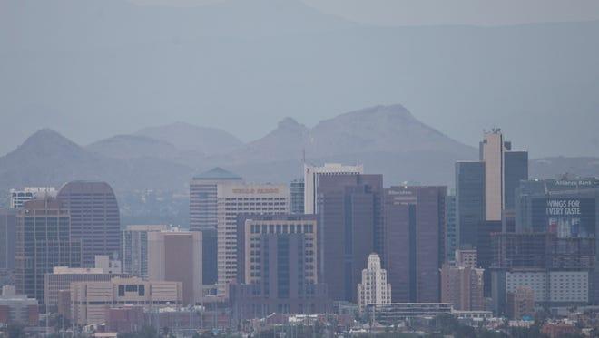 Haze covers downtown Phoenix on April 24, 2013.