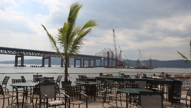 View of the Tappan Zee Bridge from the Sunset Cove restaurant at the at Washington Irving Boat Club in Tarrytown May 12, 2014.