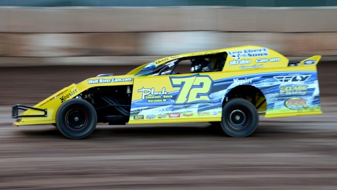 Jason Ebert, 16, of Clintonville won the IMCA northern sport mod feature at Shawano Speedway on May 28.