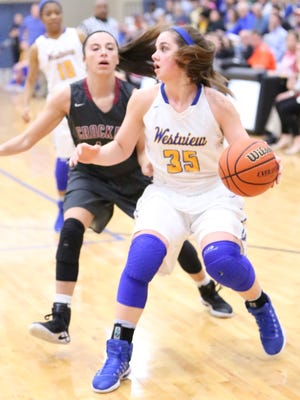 Westview's Lydia Pritchett (35) looks to pass to a teammate on Saturday in the District 13-AA championship game.