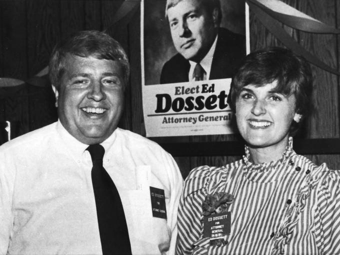 In an Aug. 6, 1982, photograph, Knox County Attorney General-elect Ed Dossett and his wife, Raynella, are all smiles on election night after Dossett defeated Democratic challenger Randy Nichols.