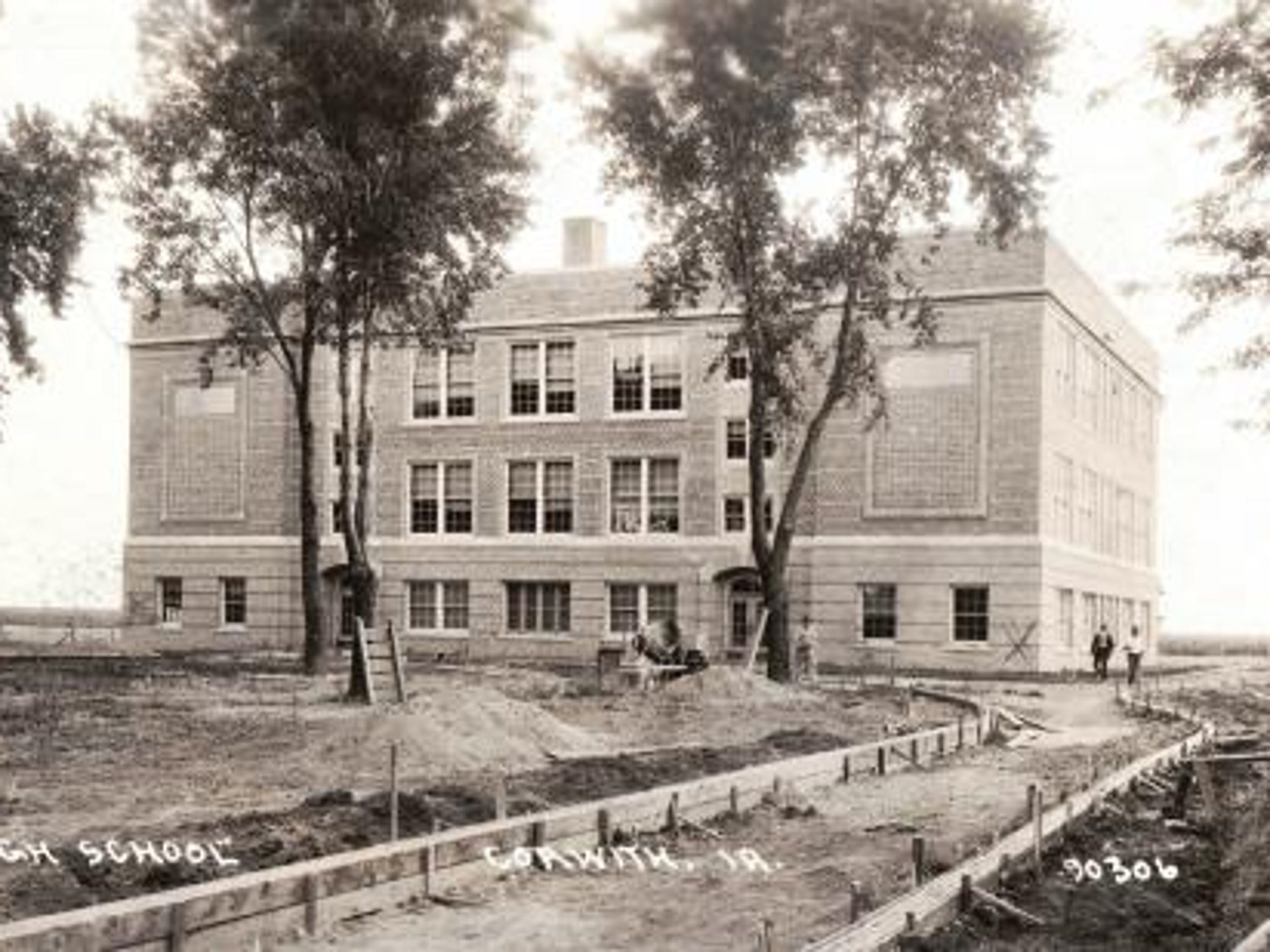 A 1918 photo of the Corwith Wesley school in Hancock County when it was almost done being constructed.