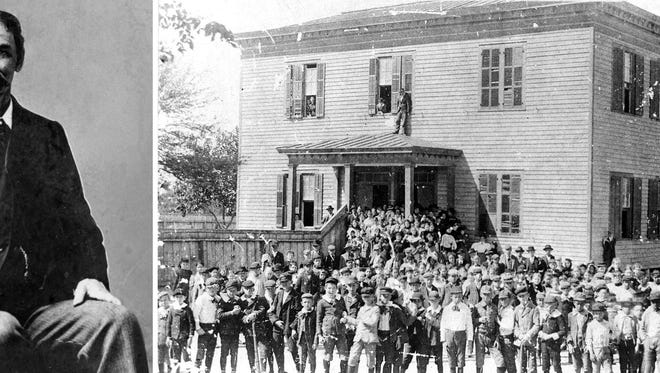 Professor Moses Menger was lured from Austin to become principal of Corpus Christi High School. Students gather in front of the Central School on the bluff. The school, built in 1872, contained four classrooms on each floor. A wooden fence extending from the front porch separated the boys' and girls' playgrounds.