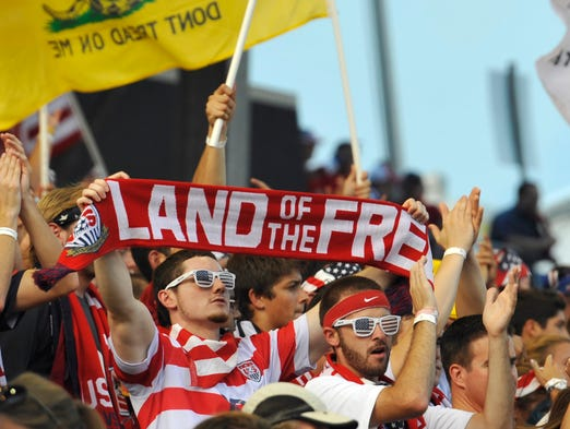 U.S. fans cheer prior to the game.