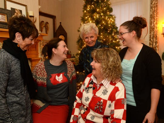 From Left: Jeanie Hanson, Kathy Van Tighem, Nancy Walters, Enid Ikeda and Meagan Potter at the annual Great Falls High womens faculty christmas party, December 15, 2016.  The party, which was started in 1976 by Nancy Walters and Enid Ikeda was held at Kathy Van Tighem's house this year.