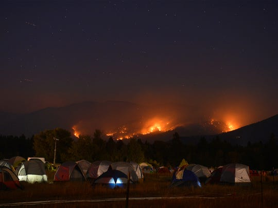 Fire camp in Seeley Lake as the Rice Ridge fire threatens the town in the summer of 2017. Above-average fire potential is predicted for August and September this year.
