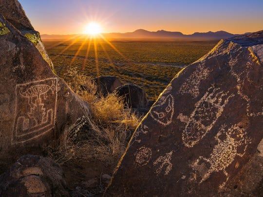 The Three Rivers Petroglyph Site at sunrise.