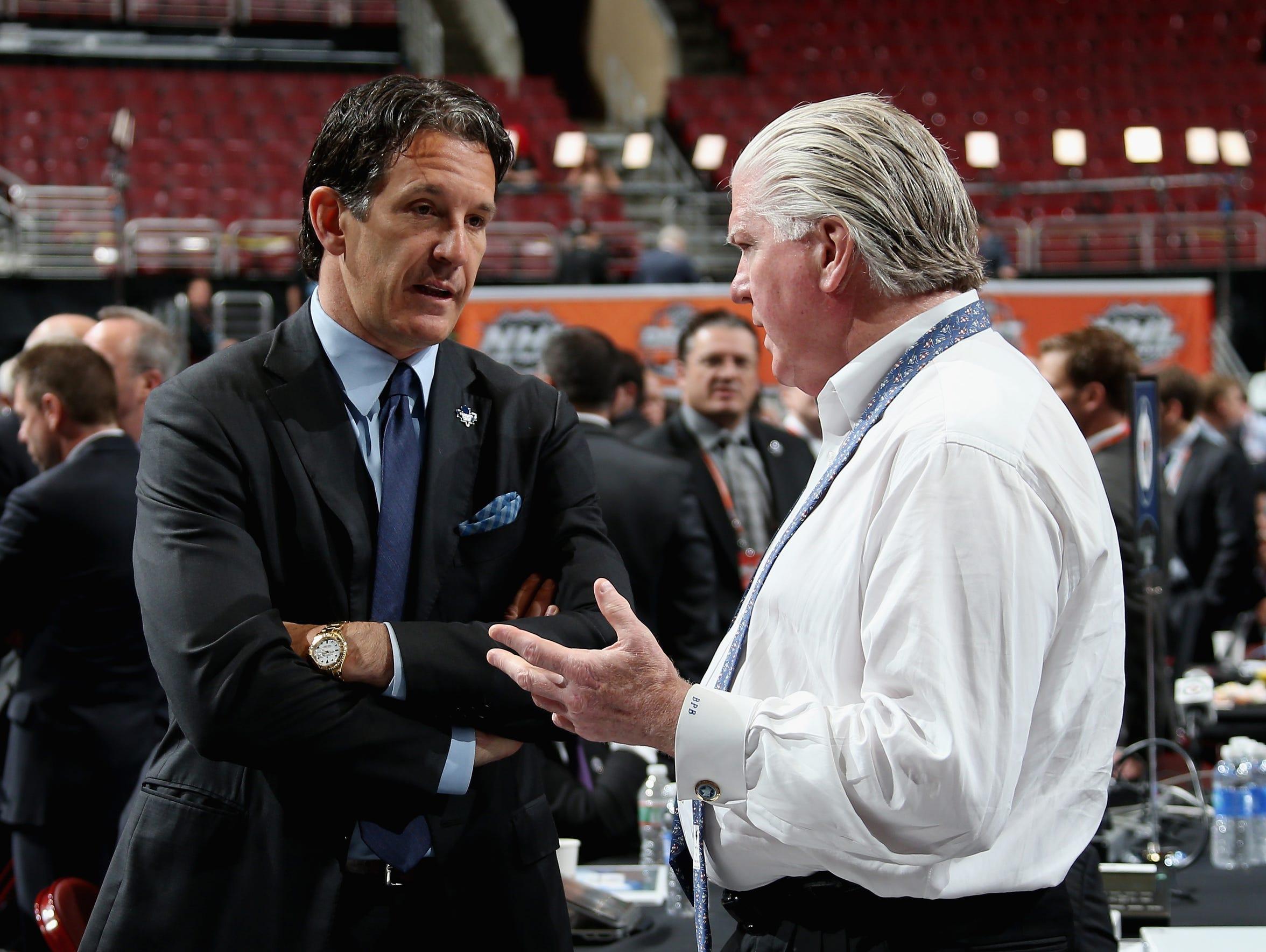 Maple Leafs president Brendan Shanahan (left) and Calgary