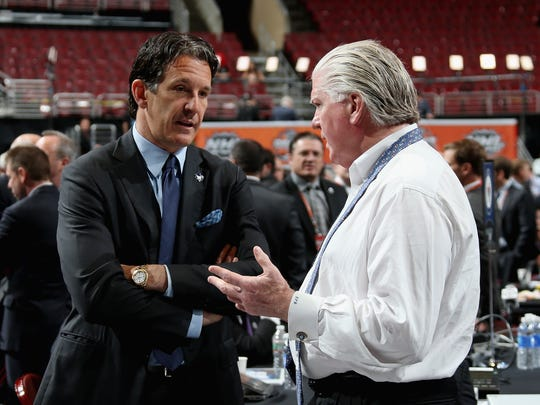 Maple Leafs president Brendan Shanahan (left) and Calgary Flames president Brian Burke (right) both made USA TODAY Sports' list.