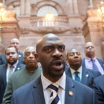 Assemblyman Michael Blake, D-Bronx, shown April 29, ranked first in the Assembly in per-diem expenses this year. His nearly $21,000 spent included about $8,000 to set up his offices.