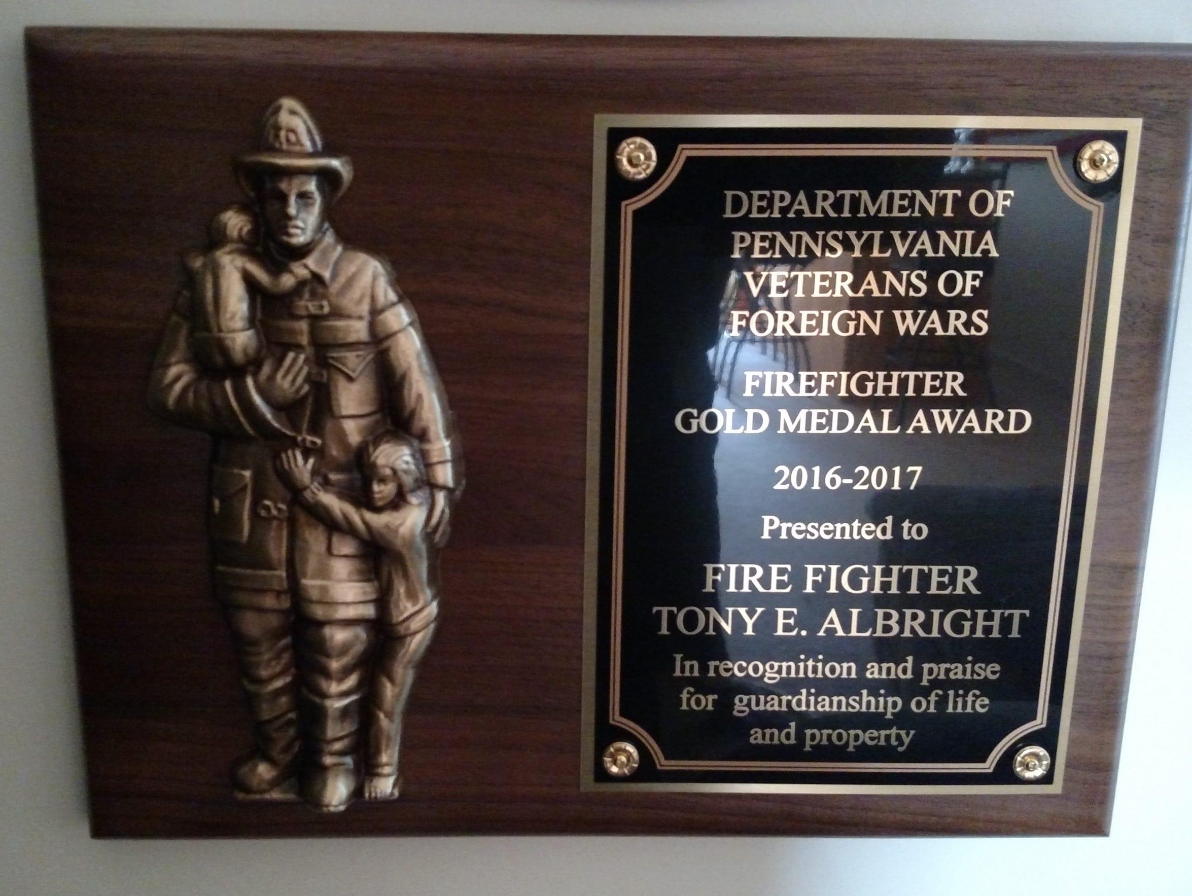 VFW award presented to Firefighter-EMT Tony Albright
