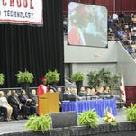 West Florida senior Raleigh Nesbitt delivering her speech during the 2015 graduation ceremony.  U.S. News ranked West Florida as one of the top 200 high schools in the state and top 2,400 in nation.
